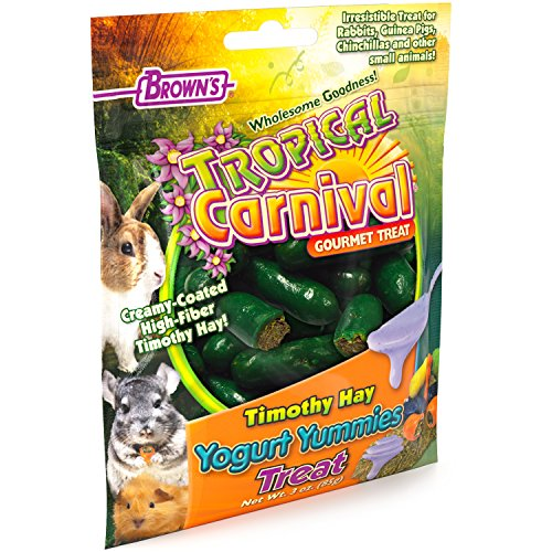 Tropical Carnival F.M. Brown's Timothy Hay Yogurt Yummies Treats with High Fiber for Rabbits, Guinea Pigs, Chinchillas, and Other Small Animals, 3-oz Bag ()