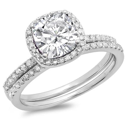 18K Gold Cushion Created White Sapphire & Round White Diamond Bridal Halo Engagement Ring Set