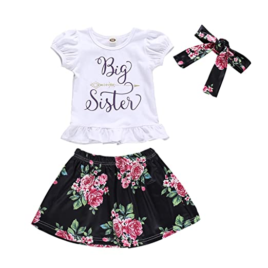 fd155dc39baae Amazon.com: Baby Girl Big Little Sister Matching Outfits Short ...
