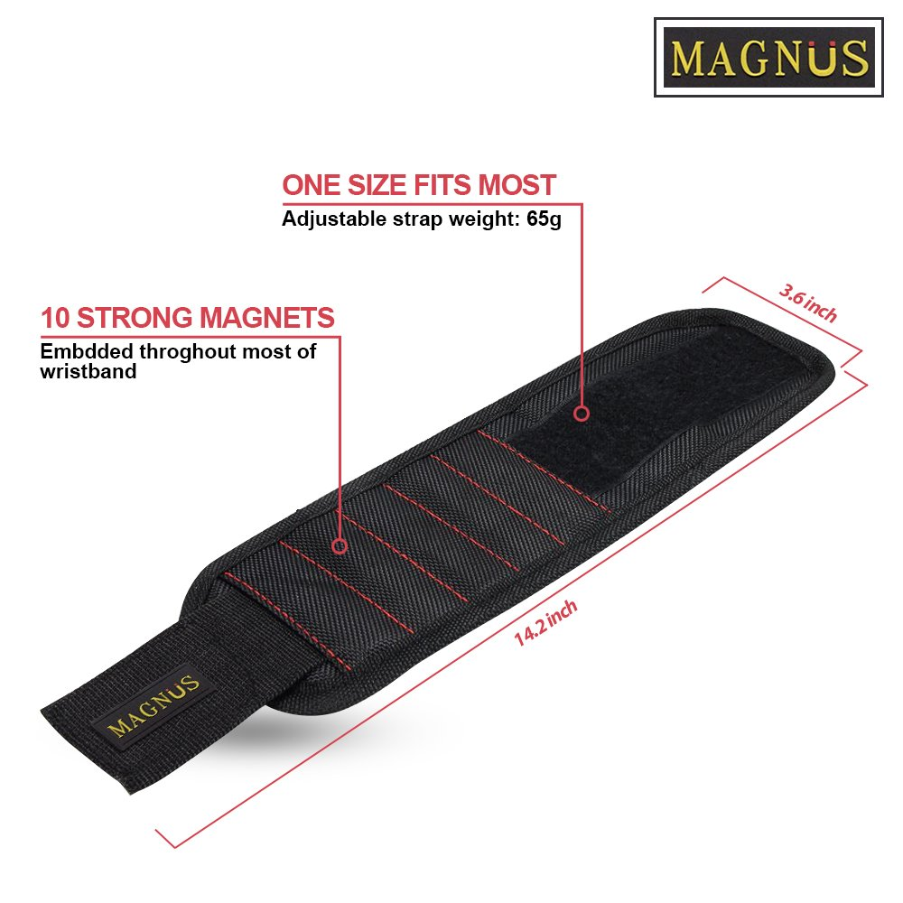 Magnus Magnetic Wristband -10 Strong Neodymium Magnets embedded throughout wristband for holding nails, screws, bits, fasteners, washers, bolts, small tools, and much more.