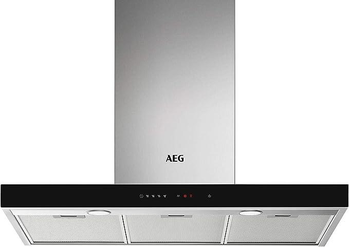 AEG DBE5961HG Campana extractora de pared, 90 cm, 3 niveles de portencia + intensiva, Función Brisa, Potencia máxima 700 m3/h, 54 dB(A), Luces LED, Sincronización automática con placa, Inox,Clase A: Amazon.es: Grandes