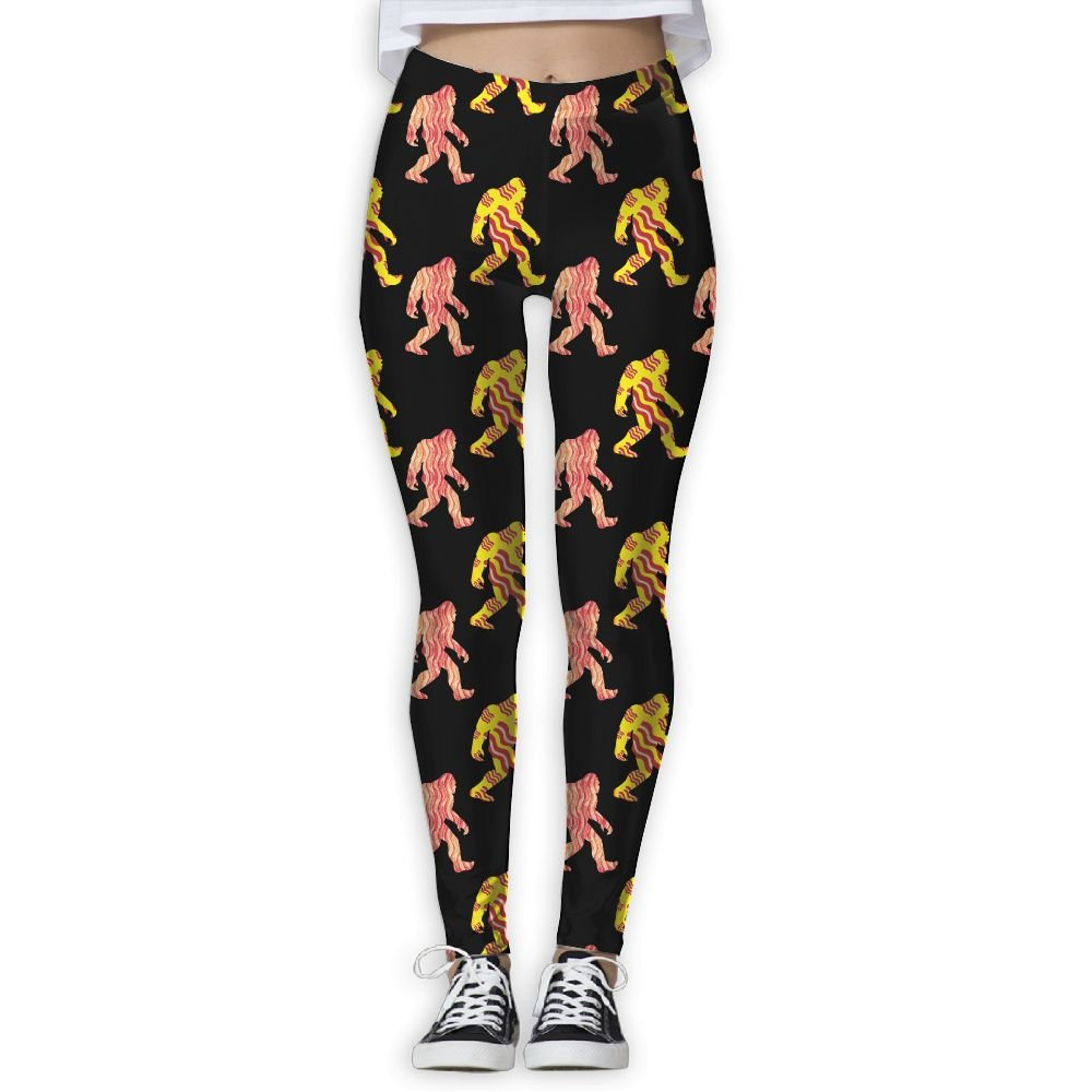 BIGFOOT SASQUATCH BACON Women's Stretchable Sports Running Yoga Workout Leggings Pants L