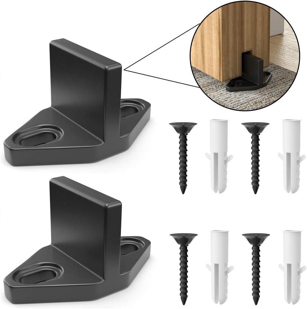1PC Floor Guide WINSOON Antique Sliding Barn Door Hardware Door Bottom Floor Guide Plastic Powder Coated Black with Screws