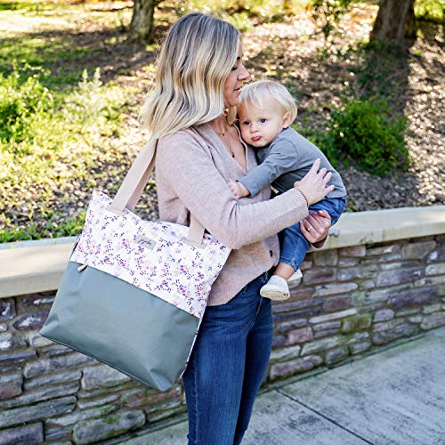 JuJuBe All Purpose Shoulder Tote Bag | Petal Perfection | Durable Waterproof Travel Bag with Exteriors & Interior Pockets, Lightweight Machine Washable Shoulder Bag, Gym Bag, Beach Bag or Diaper Bag