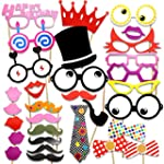 COOLOO Photo Booth Props Diy Kit For Birthday Party Pack Of 31:Various Colors Of Mustache Glasses Frames Ties Lips Crown Pipe Eyes Hat and Happy Birthday Sign
