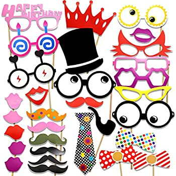 PartyWoo Photo Booth Props Diy Kit For Birthday Party,Pack Of 31:Various Colors Of Mustache,Glasses Frames,Ties,Lips,Crown,Pipe,Eyes,Hat and Happy Birthday Sign