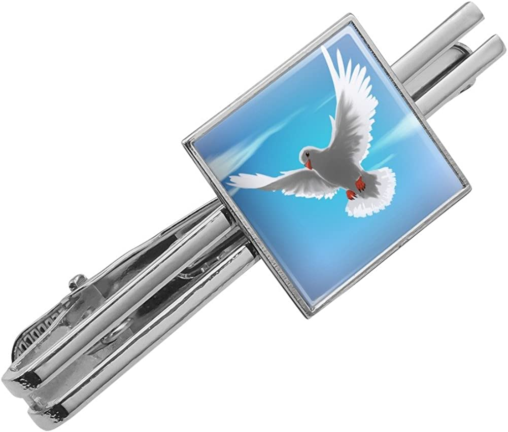 Silver or Gold GRAPHICS /& MORE Dove Bird Flying in The Sky Square Tie Bar Clip Clasp Tack