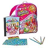 "Shopkins Backpack Bundle Set - 16"" Girls Backpack, Notebook, Pencil and Stickers"