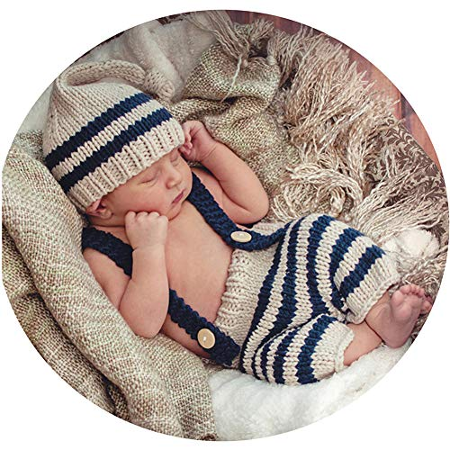Binlunnu Newborn Baby Photography Props Boy Girl Crochet Costume Outfits Cute Hat Pants ()