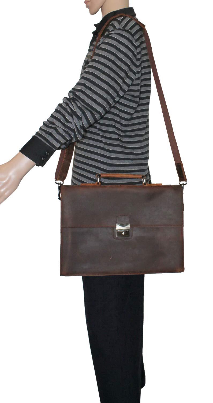 SALE 15 Slim Full Grain Leather Briefcase Laptop Bag w//Latch Lock LB25.DS