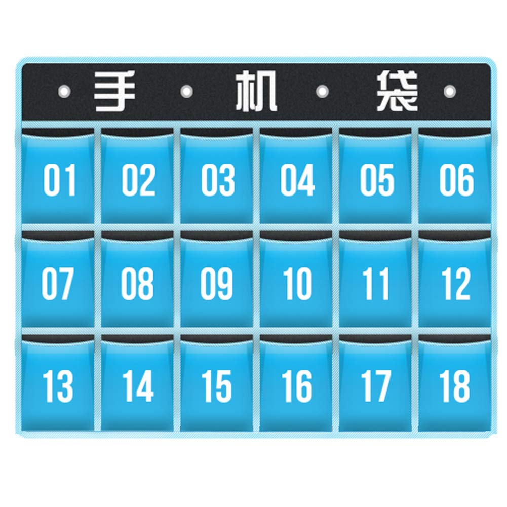 Loghot Oxford Cloth Numbered Classroom Pocket Charts for Cell Phones Holder Door Hanging Calculator Organizer Sky Blue (18 Pockets)