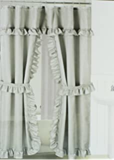 Double Swag Fabric Shower Curtain With Vinyl Liner And 12 Roller Rings Platinum Grey