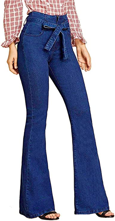RISTHY Pantalones Acampanados Mujer Mujer Pantalones Vaqueros ...