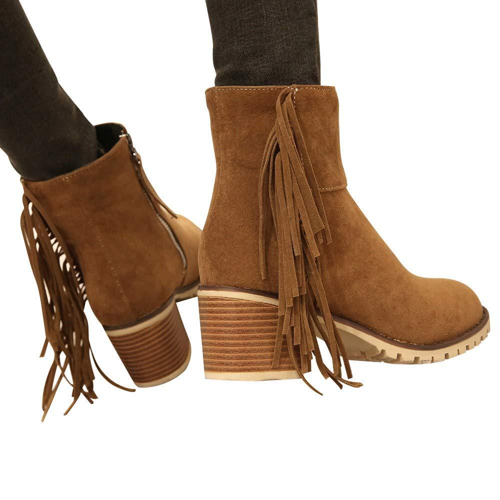 Women Boots JJLIKER Bohemian Ethnic National Tassel Vintage Shoes Fashion Fringe Ankle Zipper Boots by JJLIKER--Women Boots
