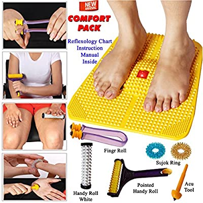 Acupressure Power Mat with Magnets n Pyramids for Pain Relief Useful for Heel Pain - Knee Pain - Leg Pain - Sciatica - Cramps - Migraine - Depression With Acupressure Health Care Products - Comfort
