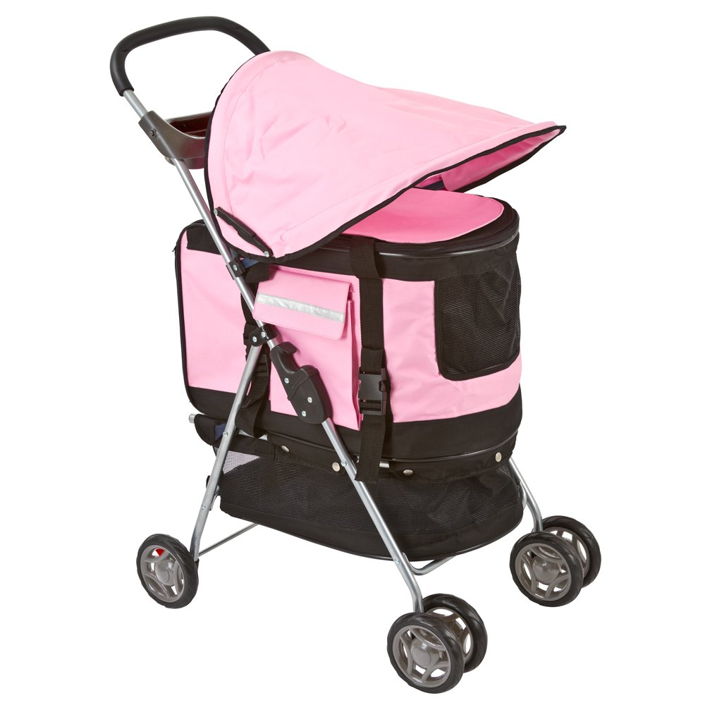 Pink Pet Stroller, Carrier and Car Seat All-in-One by Discount Ramps (Image #1)