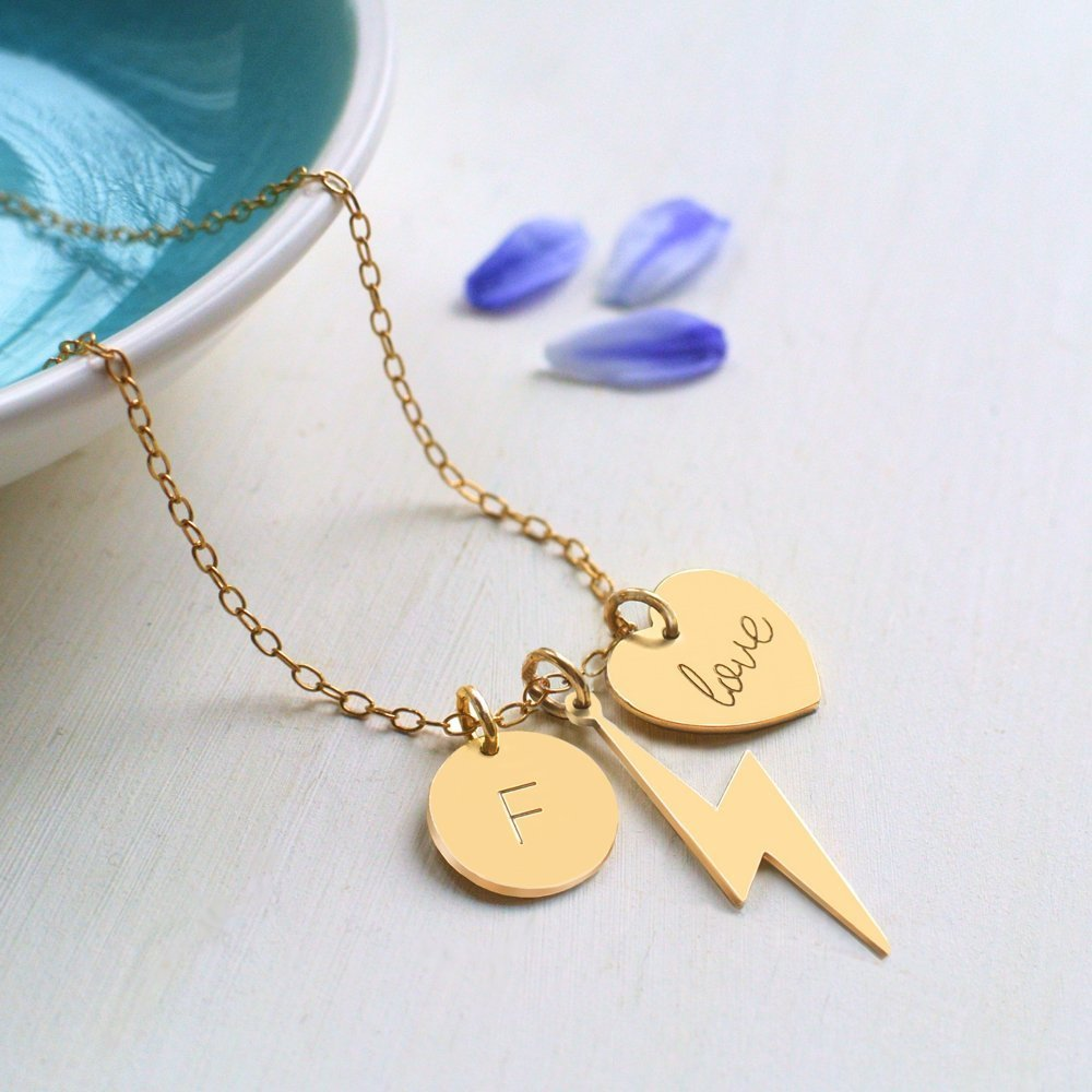 Personalised Gold Lightning Bolt, 'love' Heart & Initial Disc Necklace