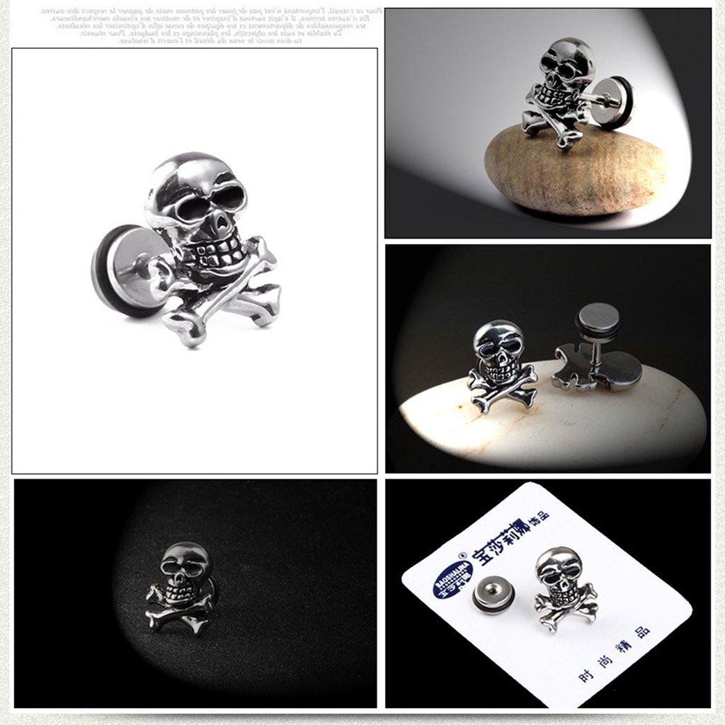 Haptian Cabeza de Calavera Retro Pendientes para los o/ídos Piercing Pendientes Anillo de Oreja de Acero de Titanio Esp/árragos Fantasma