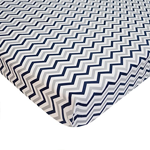 American-Baby-Company-100-Cotton-Percale-Fitted-PortableMini-Crib-Sheet-Navy-Zigzag