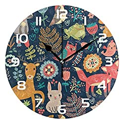Dozili Forest Animal Rabbit Deer Fox Decorative Wooden Round Wall Clock Arabic Numerals Design Non Ticking Wall Clock Large for Bedrooms, Living Room, Bathroom