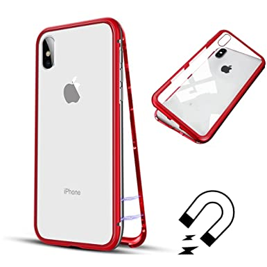 reputable site 45146 7805e LAPOPNUT Magnetic Adsorption Metal Case for iPhone 7 Plus/iPhone 8 Plus  Tempered Glass Hard Back Cover With Built-in Magnets Metal Bumper Frame  Slim ...