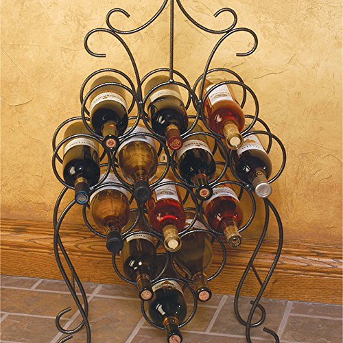 Victorian Freestanding Wine Holder with a Curly Handle Made w/ Wrought Iron in 13 Bottle Capacity Dark Pewter Finish 18W x 6D x 34H in.