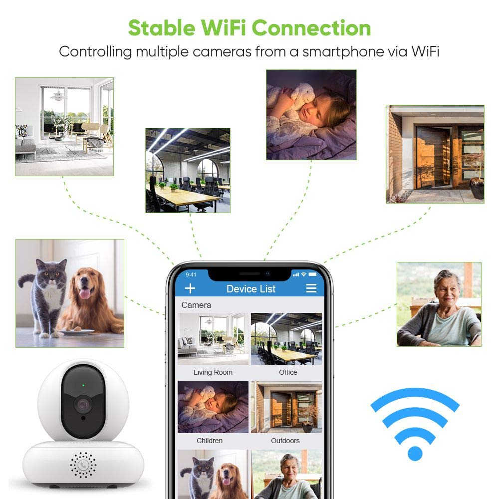 IP Camera, 1080P HD Wifi Camera Home Security Camera with Night Vision, Motion Detection, 2 Way Audio, Indoor HD Surveillance Camera Support 128GB Micro SD/Tilt/Zoom Monitor for Pet/Baby Monitor