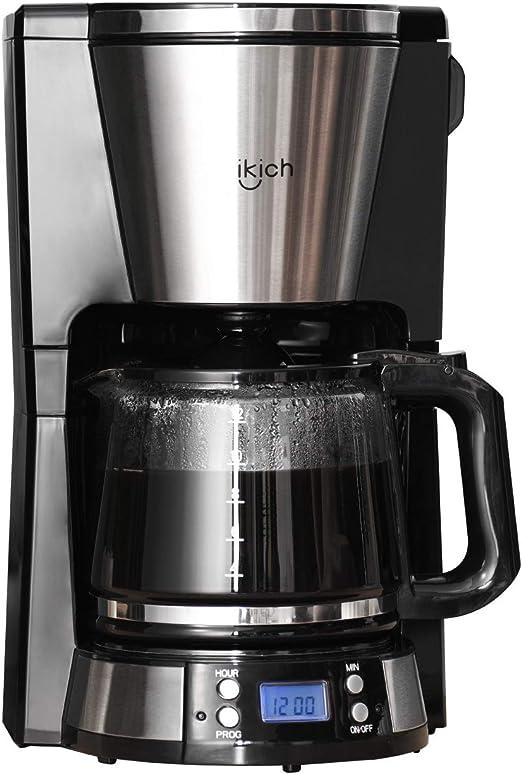 IKICH cafetera de Filtro, 1000W Máquina de café Cafetera Goteo Programable para 12 Tazas con Filtro Reutilizable y función de 40min Mantener Caliente. Sistema antigoteo, para Home Office: Amazon.es: Hogar