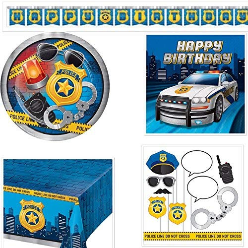 Olive Occasions Police Birthday Party Supplies Serves 16 Plates, Napkins, Banner, Table Cover, Photo Props, Recipe -