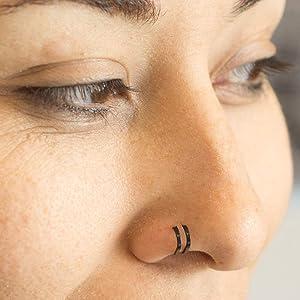 Amazon Com Luxemodz Double Hoop Nose Ring For Single Piercing 20ga 18ga Sold Each Black 0 8 Jewelry