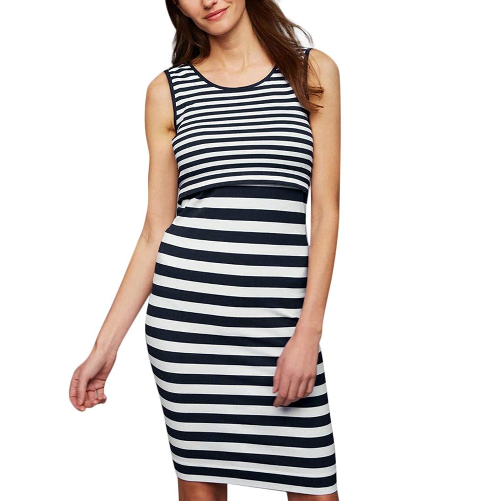 Women Pregnant Vest Dress, 2019 Lady Maternity Nursing Baby Sleeveless Striped Tops Dresses Clothes (Size:XL, Navy)