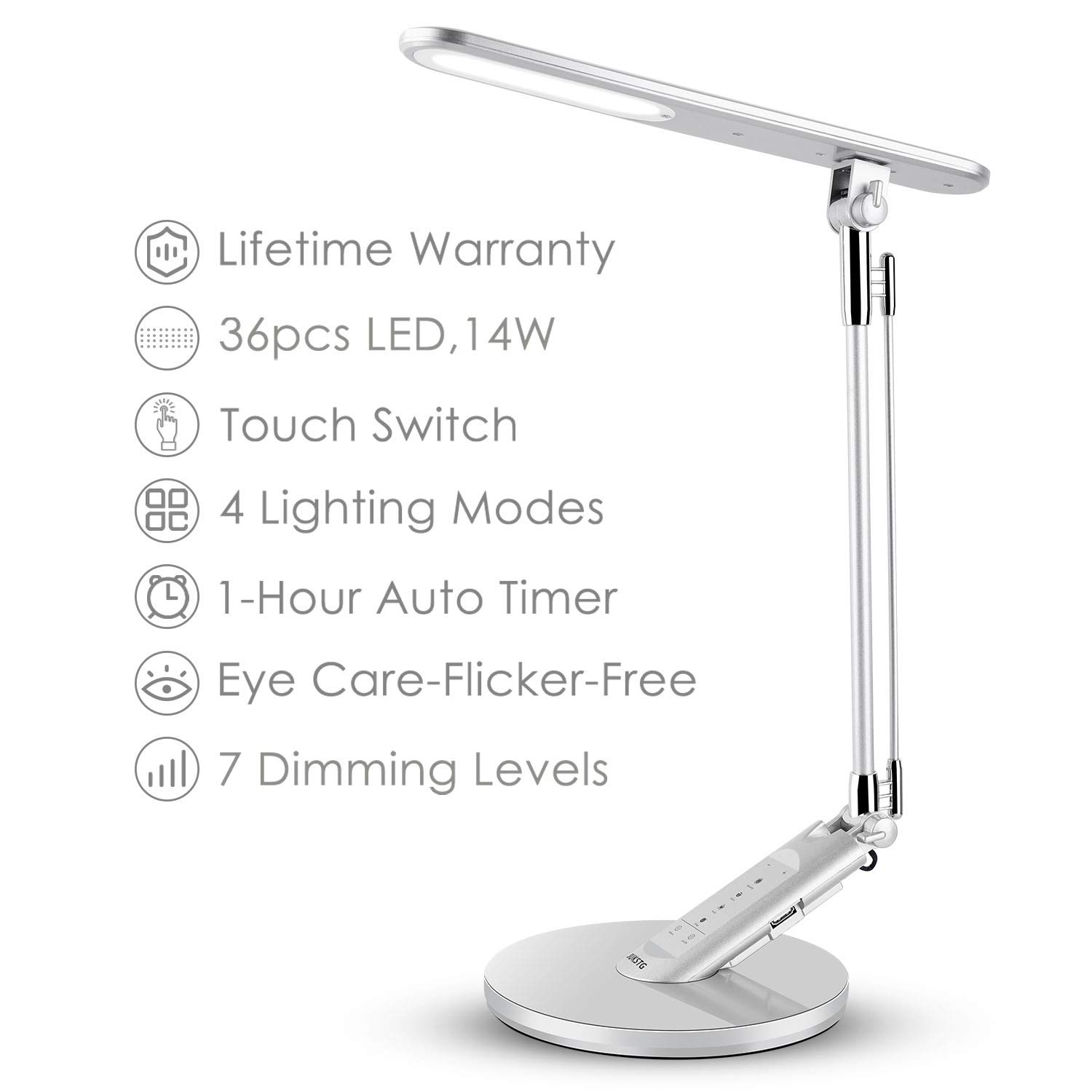 JUKSTG Desk Lamp, 36pcs LEDs 14W 7 Dimming Levels Table Lamps with 4 Lighting Modes, Folding Led Desk Lamps, 1-Hour Auto Timer, USB Charging Port, Touch-Sensitive Control, 5V Reading Lamps, Silver