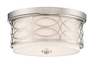 """Kira Home Sienna 13"""" Modern 2-Light Flush Mount Ceiling Light + Round Frosted Glass Diffuser, Brushed Nickel Finish"""