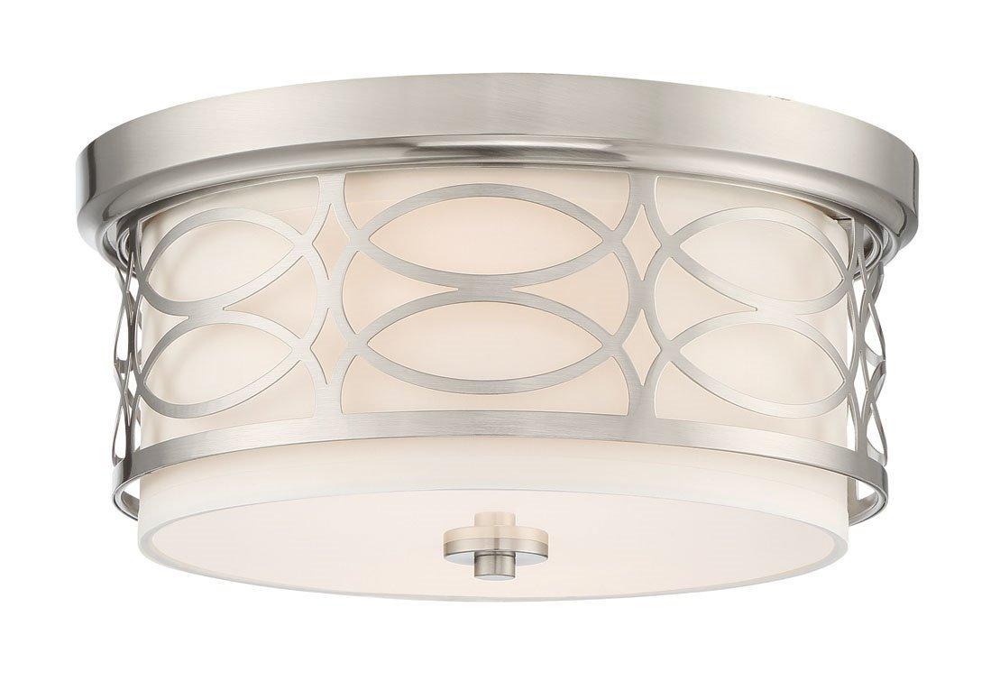 Kira Home Sienna 13'' 2-Light Flush Mount Ceiling Light + Glass Diffuser, Brushed Nickel Finish