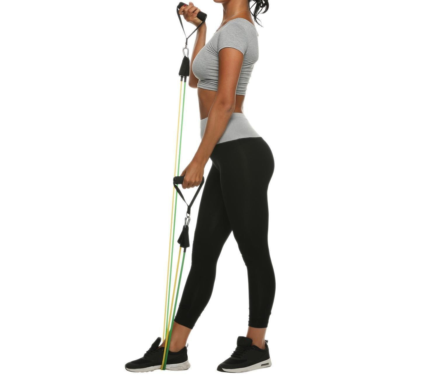 Kaimu 11pcs Resistance Band Set Fitness Exercise Band with Door Anchor Ankle Strap Carrying Bag Straps