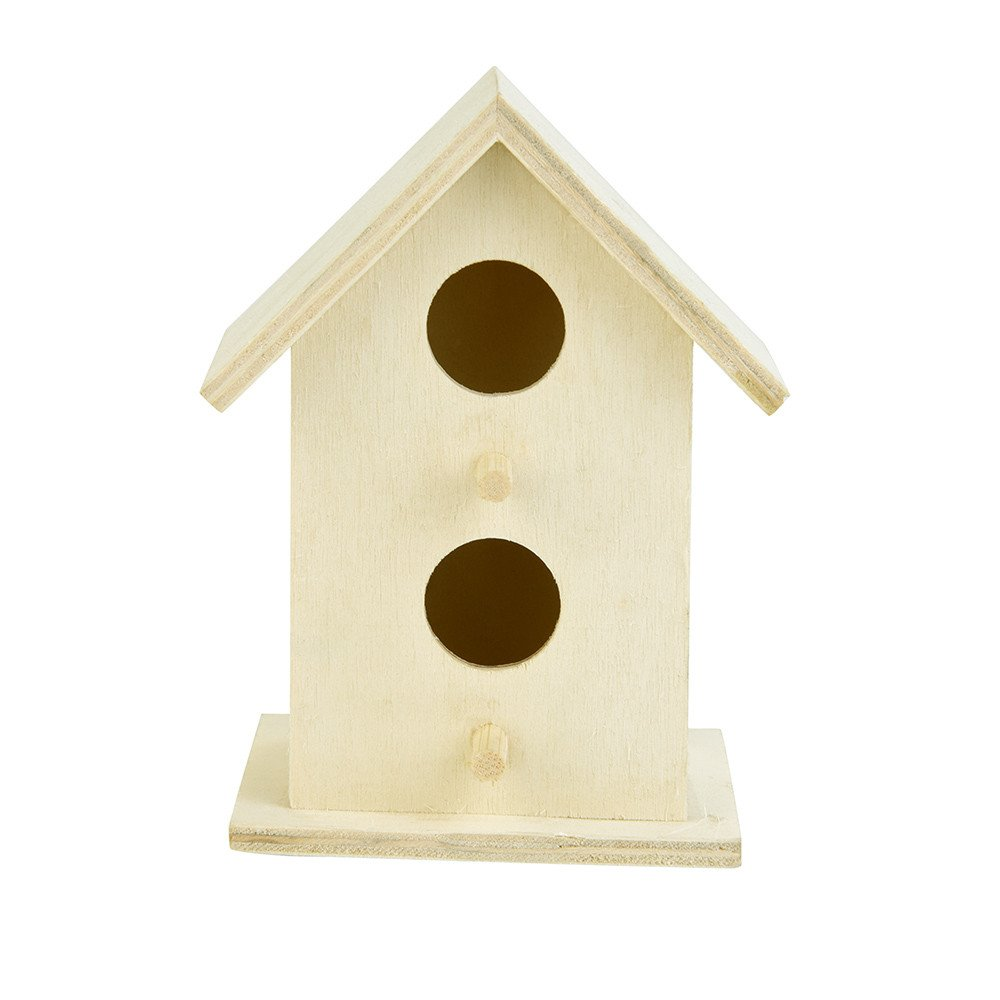 Leslily Wooden Bird House, Nest DOX Nest House Bird House Bird House Bird Box Bird Box Wooden Box - Two Holes Bird Friendly House for Outdoors Tree Hanging and Indoors Natural Birdhouse(Khaki)