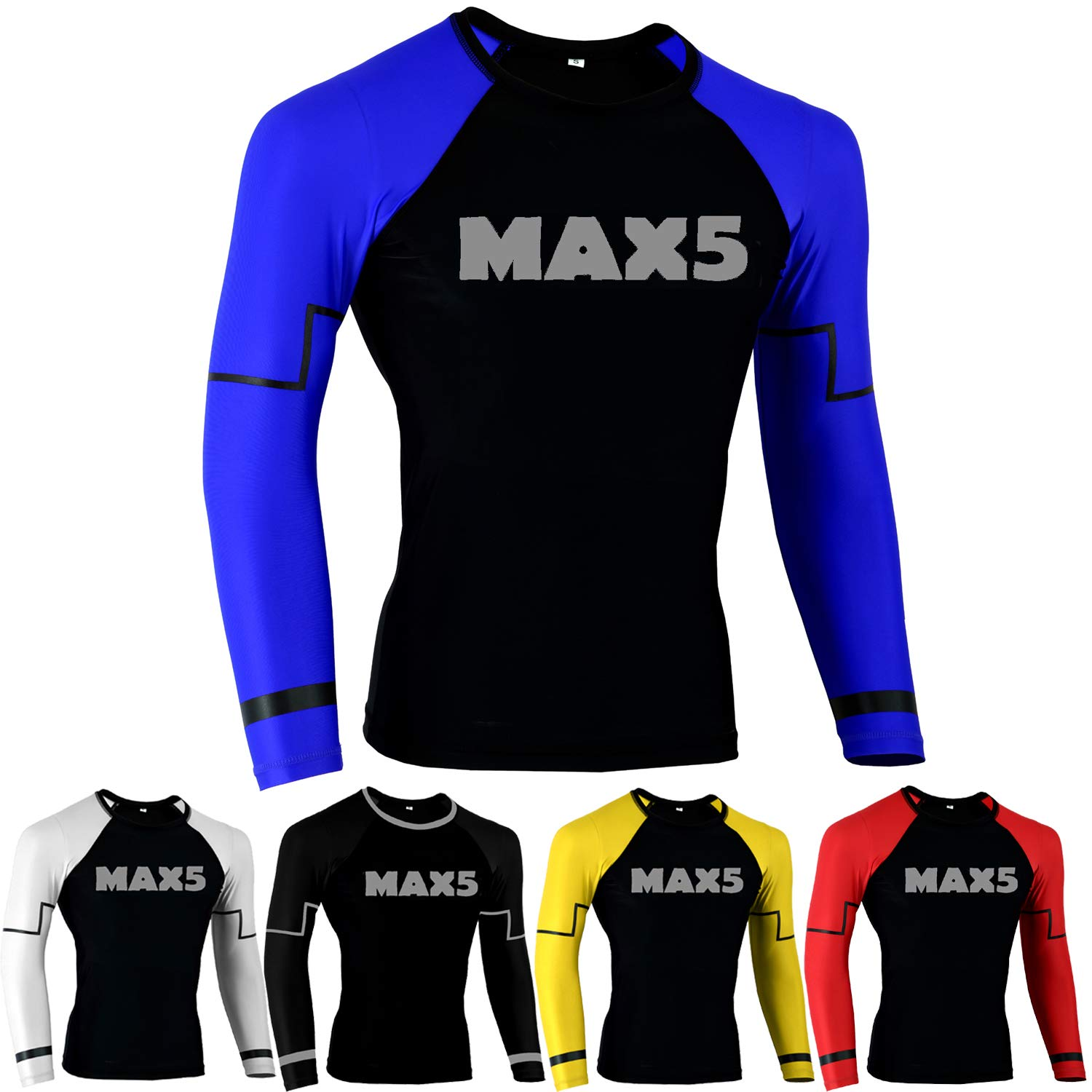 MMA Rash Guard No Gi Jiu Jitsu Fight Shirt (Blue, XL) by Max5