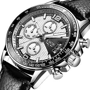 Relojes Hombre Impermeable Cronógrafo Correa de Cuero Relojes de Pulsera Lujo Marca LIGE Calendario Deportivo Casual Clásicos Multifunción Relojes analógico de cuarzo