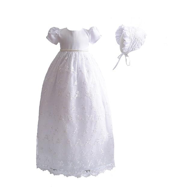 Cinda Vestido de bautizo largo de encaje de bebé con bonete Blanco 0-3 Meses
