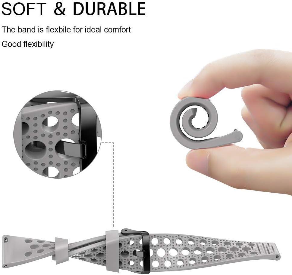 SkyBand Respirant Sport Silicone Classique Bracelet De Remplacement pour Montres connect/ées PowerWatch 2 Noir