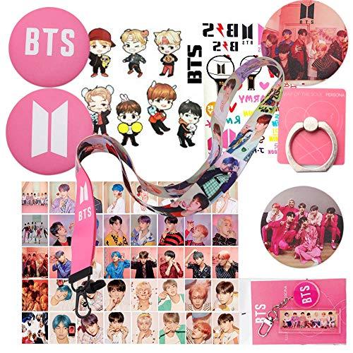 BTS Gifts Set for Army Map of The Soul Persona Gift Kits - 40 pcs BTS Lomo Cards, 4 BTS Button Pins, 1 BTS Phone Ring Holder,1 BTS Keychain,1 BTS Lanyard,1 BTS Cartoon Sticker,1 BTS Tattoo Sticker ()