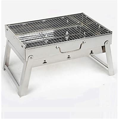 Charcoal Grill Stainless Steel Folding Portable Grill BBQ Tool Kits for Outdoor Cooking Camping Hiking Picnic Patio Smokers 16.5 x11.4 x 8.6 inch (Silver): Garden & Outdoor