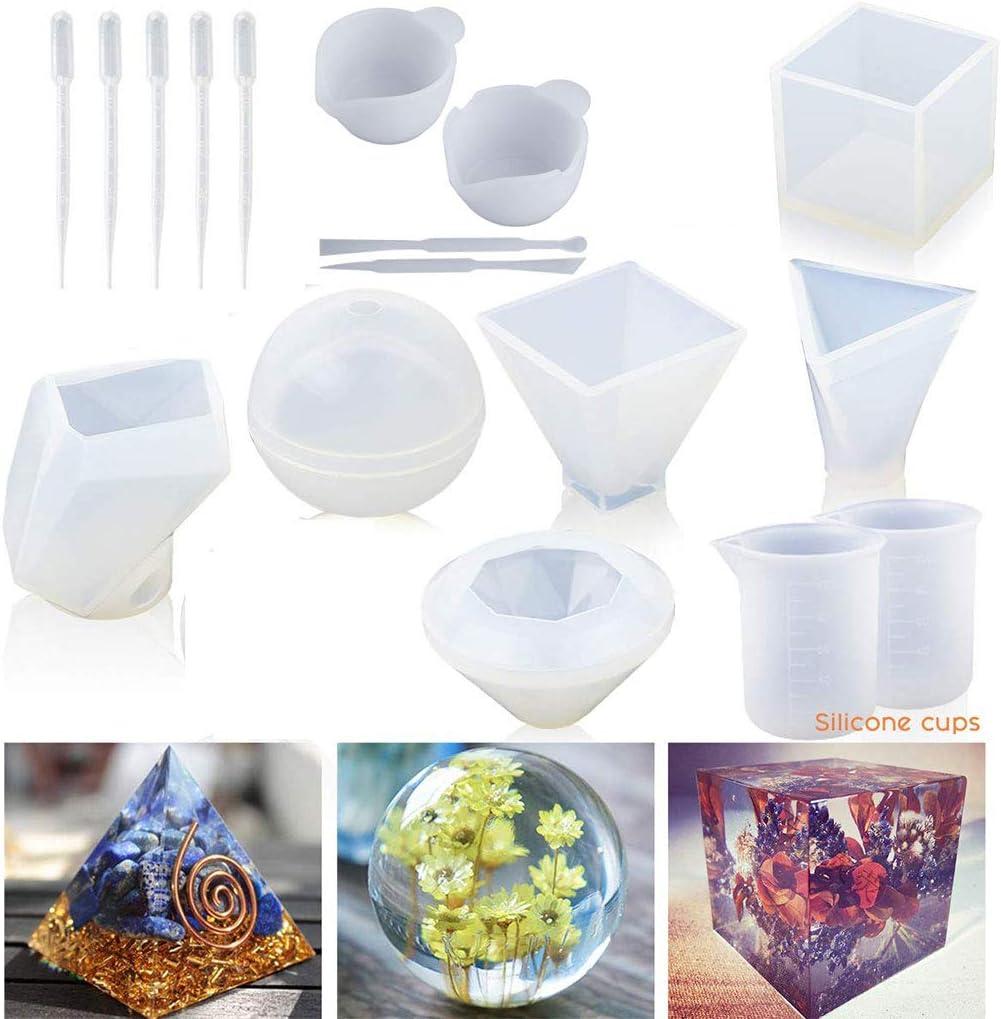 Wuweiwei12 - Moldes de silicona para resina, jabón, cera, resina epoxi, incluye cubo, pirámide, esfera, diamante, molde de resina de piedra, moldes de fundición de resina con tazas de medición: Amazon.es: Hogar