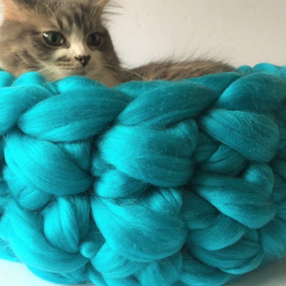 bluee 16in bluee 16in 16in Chunky Knit Cat Bed,Cat cave,Cat Bedding,Chunky Knit Cat Bed,Best Gift for Kitten