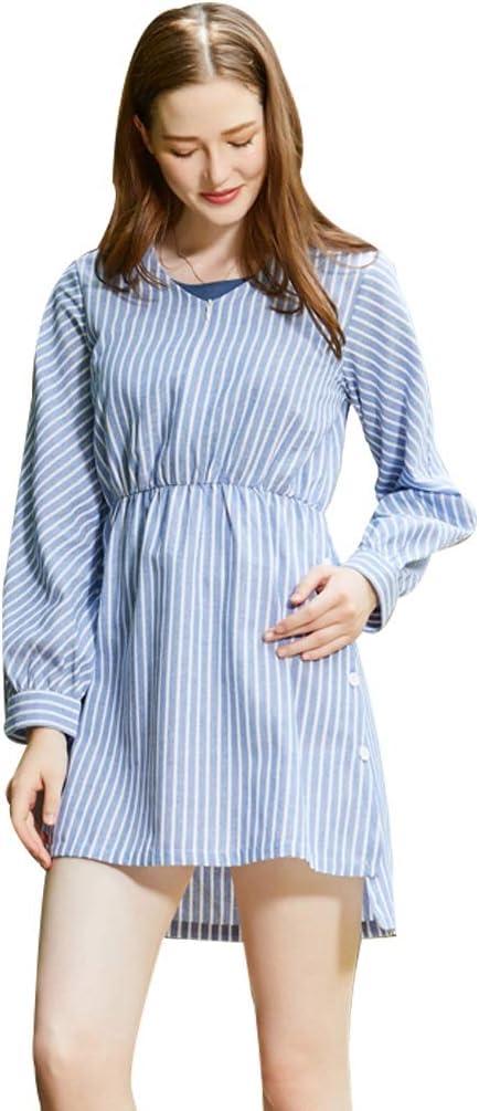 Vestidos Ropa premamá Lactancia Falda de algodón y Lino Manga Larga Mujeres Embarazadas Ropa para el hogar Regalo del día de la Madre Oficina (Color : Blue, Size : XXL)