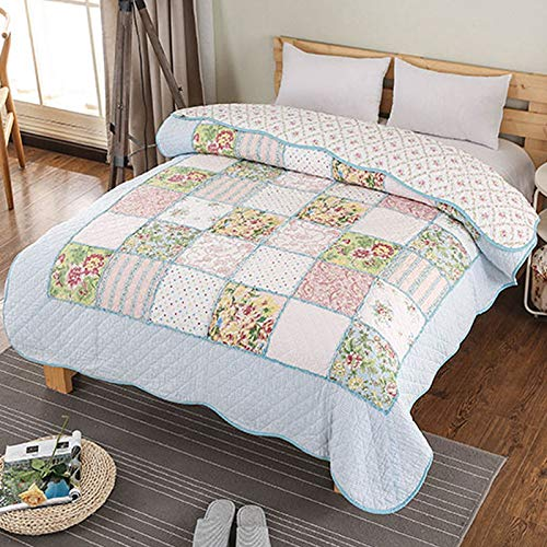 Blue Strip 100% Cotton Patchwork Bedspread/Quilted ,full Lighting_time