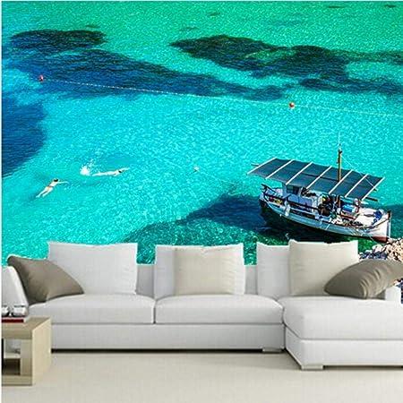 ZNBH Murales En 3D, España Mar Barco A Motor San Miguel Ibiza Naturaleza Fondos De Pantalla, Sala De Estar Sofá TV Pared Dormitorio Dormitorio Papel,-160 * 125Cm: Amazon.es: Hogar
