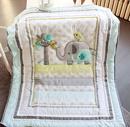 NAUGHTYBOSS Unisex Baby Bedding Set Cotton 3D Embroidery Elephant Bird Quilt Bumper Mattress Cover Blanket 8 Pieces Green by NAUGHTYBOSS (Image #9)