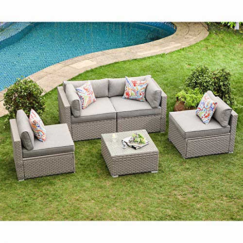 COSIEST 5-Piece Outdoor Furniture Set Warm Gray Wicker Sectional Sofa w Thick Cushions, Glass Coffee Table, 4 Floral Fantasy Pillows for Garden, Pool, Backyard (Pillow Back Sectional Sofa)
