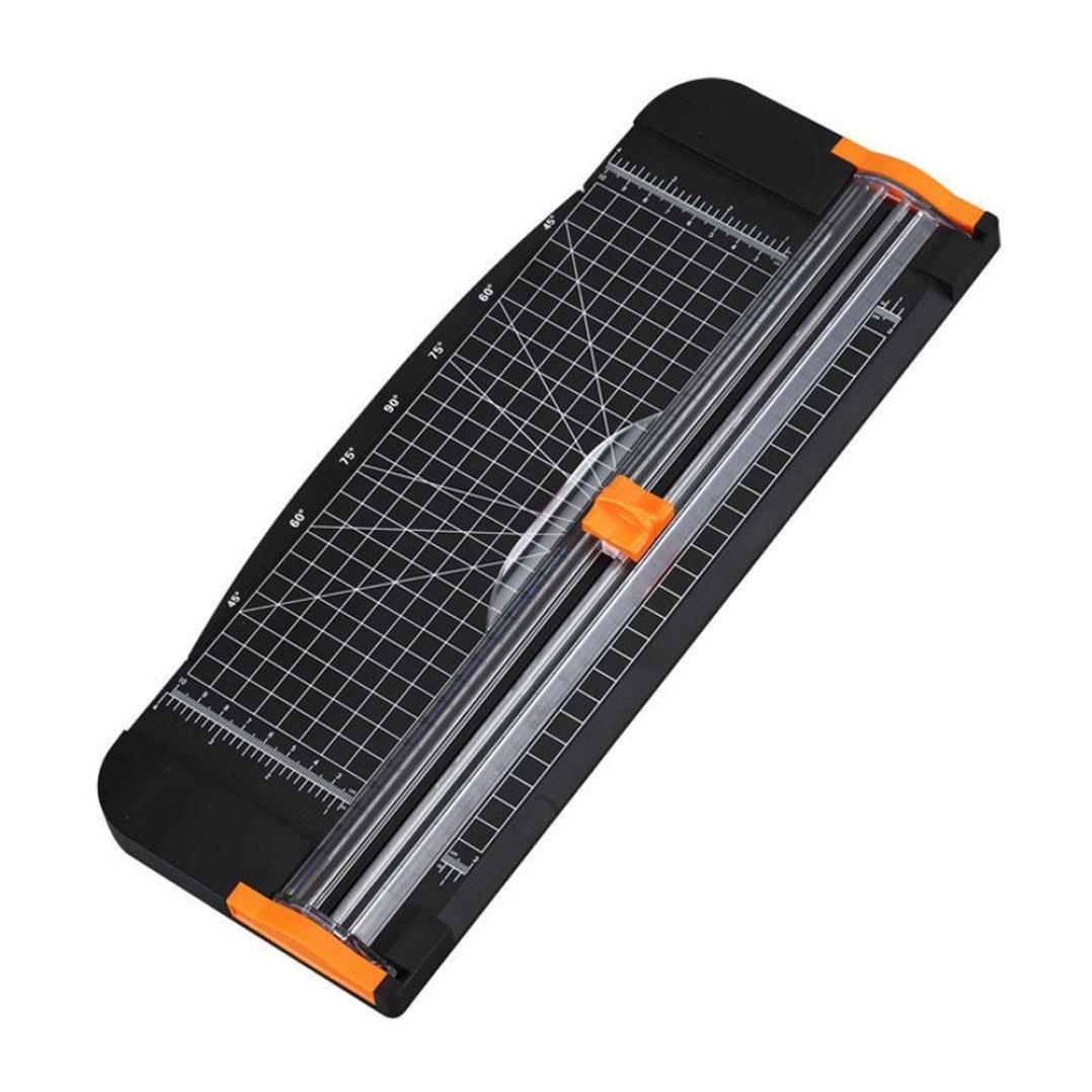 Gbell A4 Guillotine Ruler Paper Cutter Trimmer Cutter Black-Orange School Office Suppliers (Black)